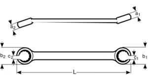 Накидной ключ с разрезом двусторонний метрических размеров