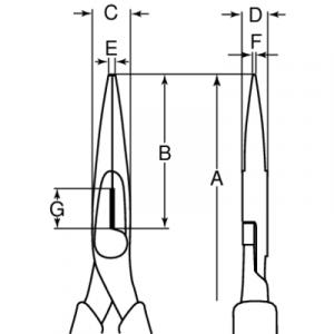 Плоскогубцы с удлиненными губками с рукояткой ERGO™ чертеж