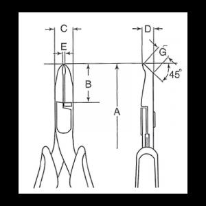;Концевые кусачки косые с рукояткой ERGO™ чертеж
