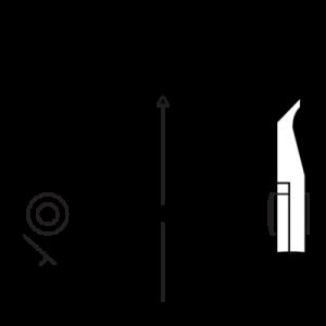Концевые кусачки с длинной головкой изогнутые, 45° чертеж
