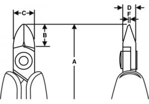 Серия Rx Диагональные кусачки с овальной головкой чертеж
