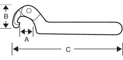 Регулируемый ключ для шлицевых гаек чертеж
