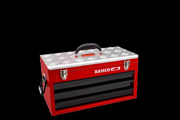 Металлический ящик с выдвижными секциями для хранения инструментов.